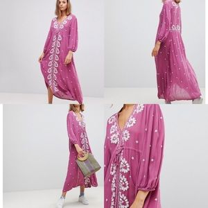 FREE PEOPLE Embroidered V Neck Maxi Dress